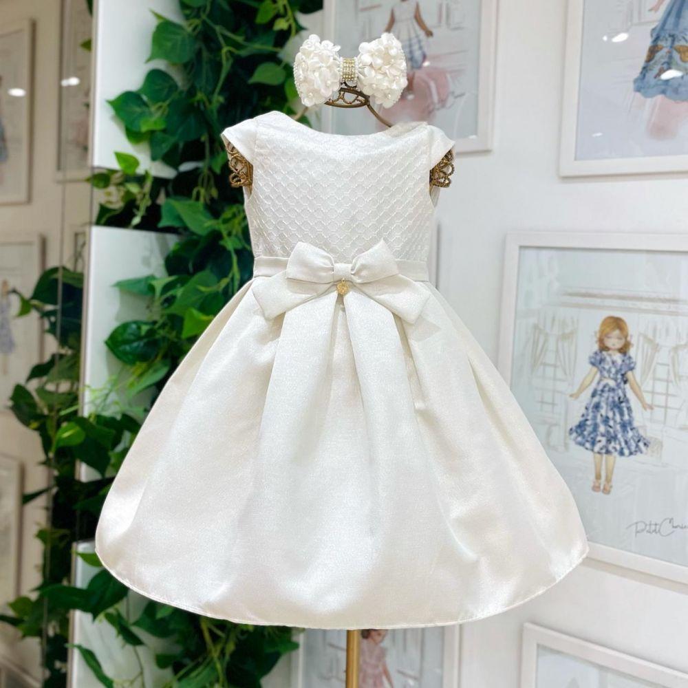 Vestido Infantil de Festa Off White Detalhe Bordado e Fios Dourados Charming Petit Cherie