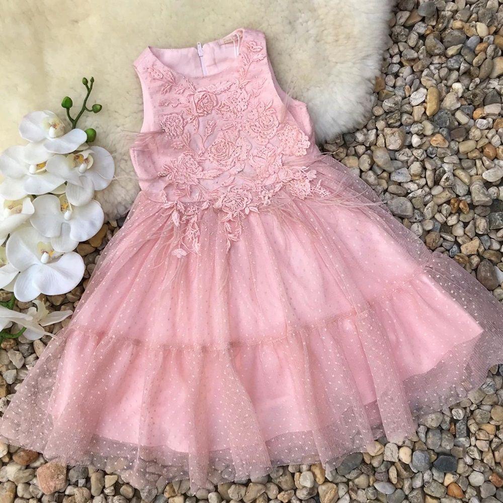 Vestido Infantil De Tule Poá Com Bordados E Plumas Rose Gold Petit Cherie 01