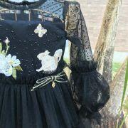 Vestido Infantil de Tule Poá Preto com Patches Florest Petit Cherie