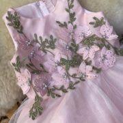 Vestido Infantil de Tule Rosa Bordado com Strass Sweet Flowers Petit Cherie