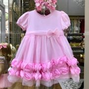 Vestido Infantil de Tule Rosas de Cetim Dream Pink Euro Baby