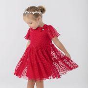 Vestido Infantil de Tule Vermelho Texturizado Corações e Strass Mon Amour Petit Cherie