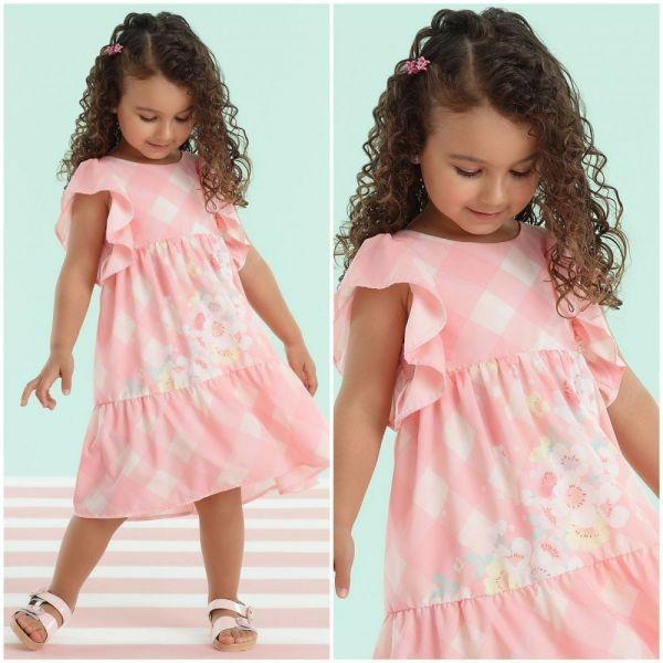 Vestido Infantil Detalhe Franzido Estampa Xadrez Vichy Rosa Pêssego Candy Flores Mon Sucré