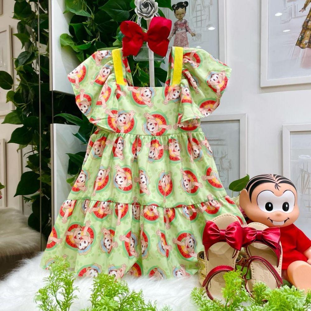 Vestido Infantil em Camadas Babados Verde Estampado Magali Summer Mon Sucré