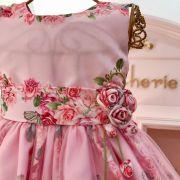 Vestido Infantil Estampa Floral Sobreposição de Tule Sweet Roses Kopela