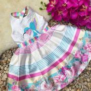 Vestido Infantil com Strass Jardim do Beija-flor Petit Cherie