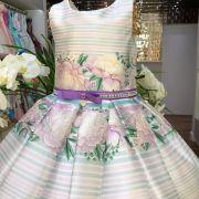 Vestido Infantil Listrado e Floral com Strass Green Gardens Petit Cherie