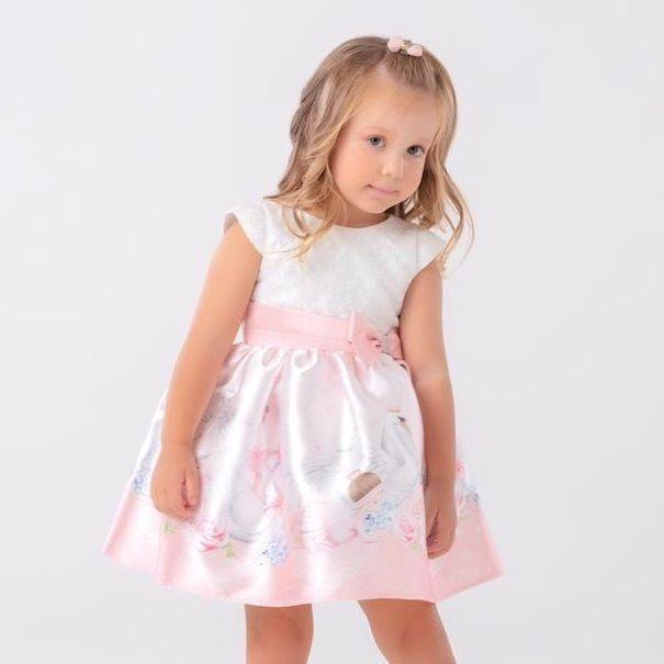 Vestido Infantil Rosa Texturizado Floral Bailarinas e Cisnes Petit Cherie