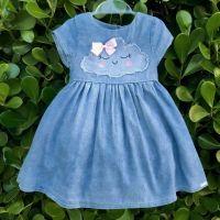 Vestido Infantil Jeans com Patch Nuvenzinha Fofa Azul Mon Sucré