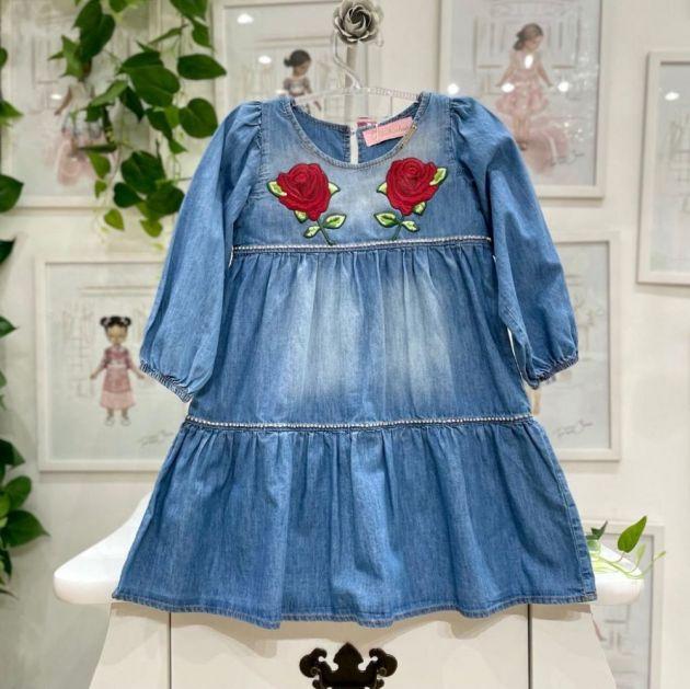 Vestido Infantil Jeans com Patches de Rosas Pituchinhus