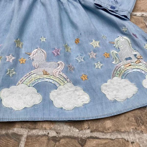 Vestido Infantil Jeans Sonhos de Unicórnio Petit Cherie
