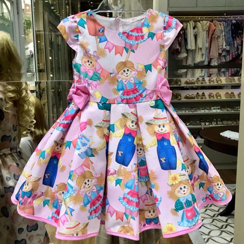 5fc44d1afb Vestido Infantil Junino Festa dos Espantalhos Mon Sucré na Euro Baby ...
