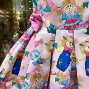 Vestido Infantil Junino Festa dos Espantalhos Mon Sucré