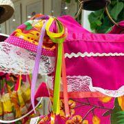 Vestido Infantil Junino Floral Amarelo e Laranja Detalhes em Cetim Kopela