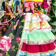 Vestido Infantil Junino Floral Azul e Amarelo Detalhes em Cetim Kopela