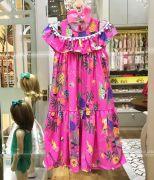 Vestido Infantil Longo com Pom Pons Tropical Fun Rosa Mon Sucré