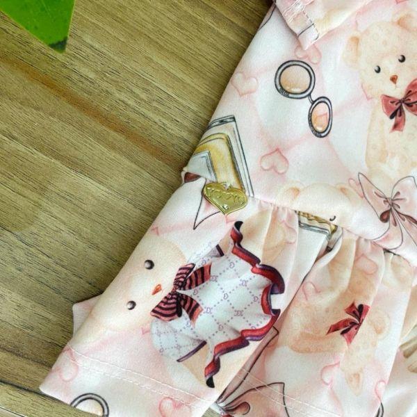 Vestido Infantil Manga Bufante Longa Rosé Ursinhos Charmosos Barrado Babados Yoyo