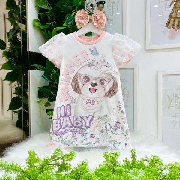 Vestido Infantil Manga Curta Bufante Branco Poá Cachorro Fofo Summer Vibes Petit Cherie