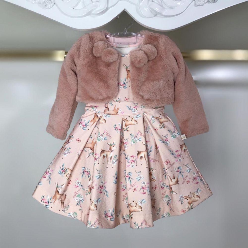 38a73722a57363 Vestido Infantil Manga Curta Com Bolero de Pêlos Rosa Meu Bambi Kiki ...