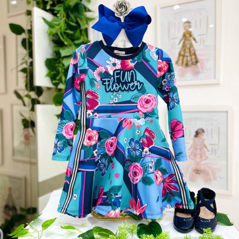 Vestido Infantil Manga Longa Azul Estampado Flores Botanic Mon Sucré