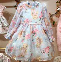 Vestido Infantil Manga Longa Estampado Urso Anjinho Petit Cherie