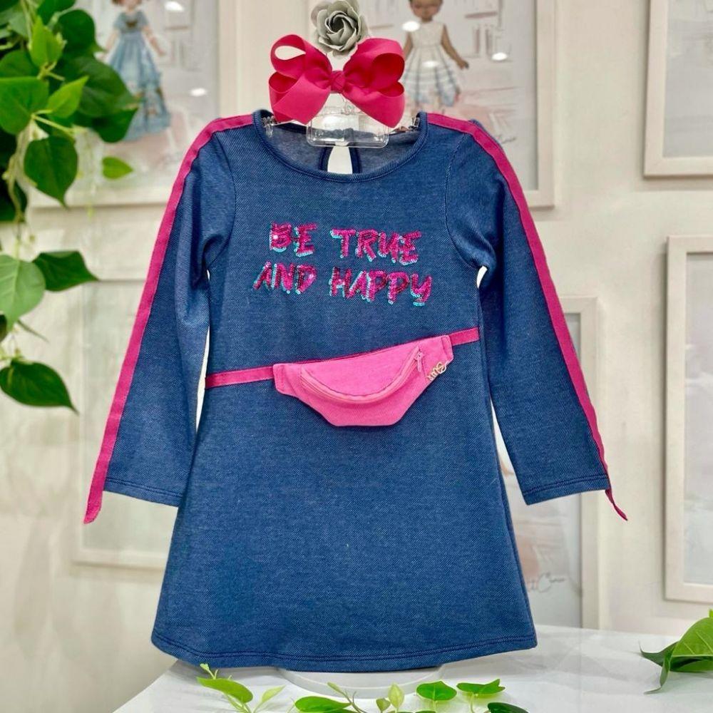 Vestido Infantil Manga Longa Trapézio Azul Jeans Pochete Rosa Cute Sleep Mon Sucré