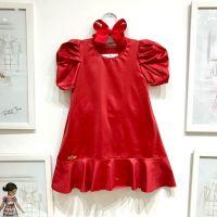 Vestido Infantil Mangas Bufante Vermelho de Cirre Perfect Basic Yoyo