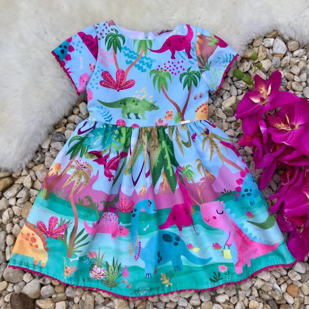 1d234761d5 Vestido Infantil Mundo dos Dinossauros Mon Sucré na Euro Baby Kids
