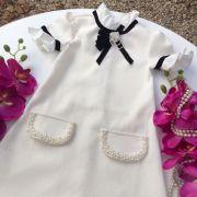 Vestido Infantil Off White Bordado Classic Details Luluzinha