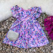 Vestido Infantil Party Confeti com Bolsa Coração Mon Sucré