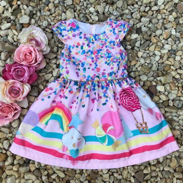 Vestido Infantil Party Confeti e Arco Íris Mon Sucré