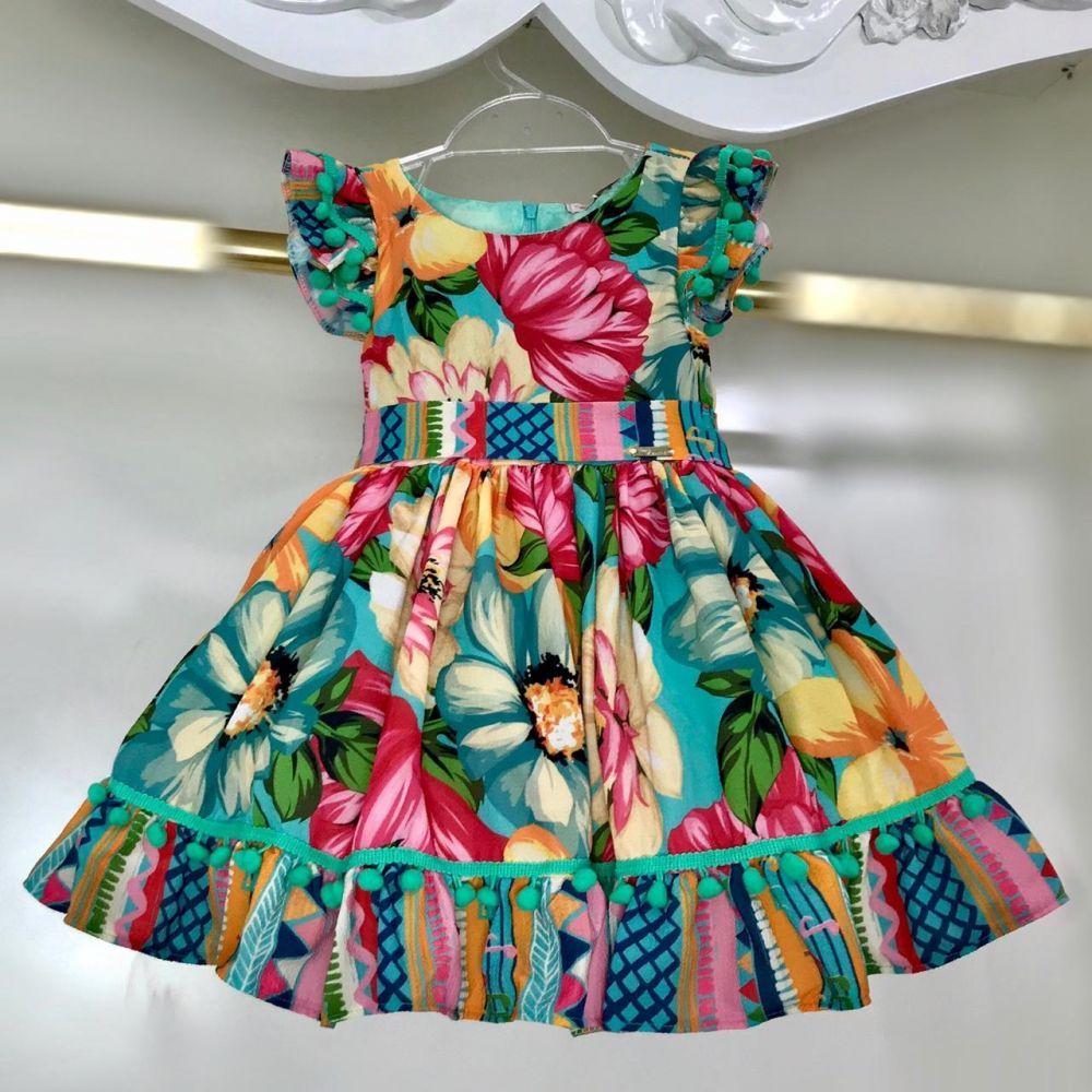 9a33ab9e46 Vestido Infantil Pom Pom Tropical Mon Sucré na Euro Baby Kids