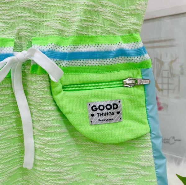 Vestido Infantil Pop Verde Neon Bolsinho na Lateral Team Lovers Petit Cherie