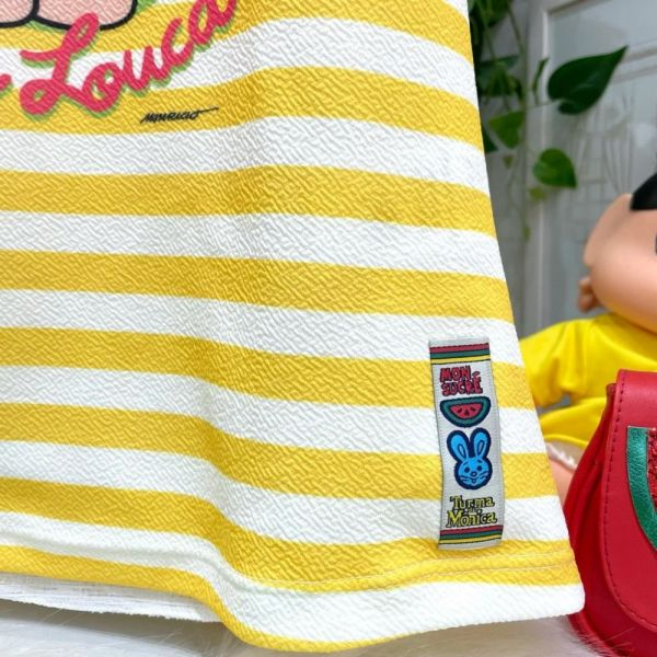 Vestido Infantil Regata Listras Amarela e Branca Magali Memes Mon Sucré