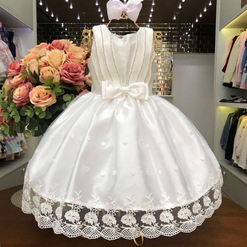 Vestido Infantil Renda Poá Branco com Strass Petit Cherie