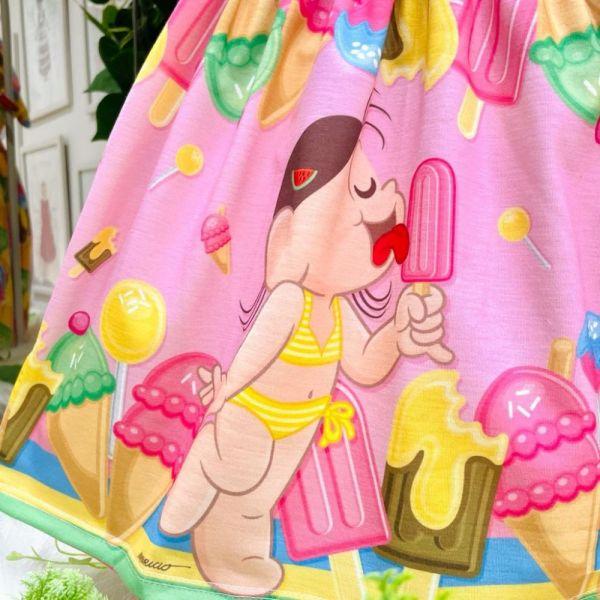 Vestido Infantil Rosa Estampado Magali Picolés e Sorvetes Pop Doces Mon Sucré