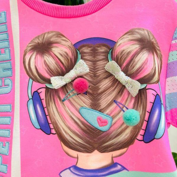 Vestido Infantil Rosa Estampado Pompons e Laço Lantejoulas Pop Girl Petit Cherie