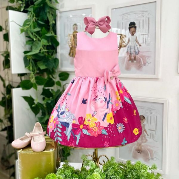 Vestido Infantil Rosa Koala Cute Flores Coloridas e Laço Lateral Mon Sucré