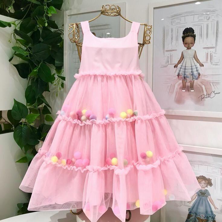 Vestido Infantil Rosa Rodado de Tule Com Pompons Coloridos Mon Sucré
