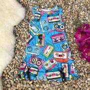 Vestido Infantil Trapézio Azul com Amarração Fitas Cassete MyLu