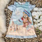 Vestido Infantil Trapézio Azul com Strass Dia de Praia Petit Cherie
