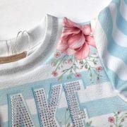 Vestido Infantil Trapézio Azul Estampado Flores Make Things Happen Petit Cherie