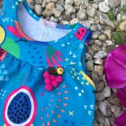 Vestido Infantil Trapézio Azul Salada de Frutas Mon Sucré