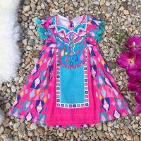 Vestido Infantil Trapézio com Pom Pons Marrocos Rosa Mon Sucré