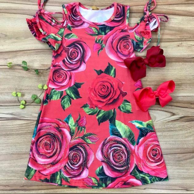 Vestido Infantil Trapezio com Strass Rosas Mágicas Vermelho Luluzinha