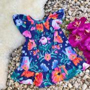 Vestido Infantil Trapézio Estampa Floral Jardim Noturno Mon Sucré