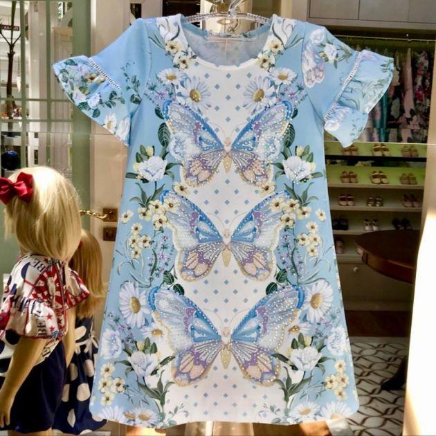 Vestido Infantil Trapézio Malha com Strass Primavera Alegre Azul Petit Cherie
