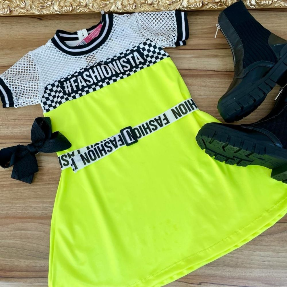Vestido Infantil Trapézio Manga Curta Branco Telado e Amarelo Neon Cirre Fashionista Trend Yoyo