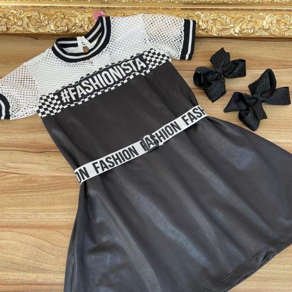 Vestido Infantil Trapézio Manga Curta Branco Telado e Preto Cirre Fashionista Trend Yoyo