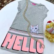 Vestido Infantil Trapézio Mescla Banana Estampa Rosa e Lilás Gatinha Hello Bye Momi